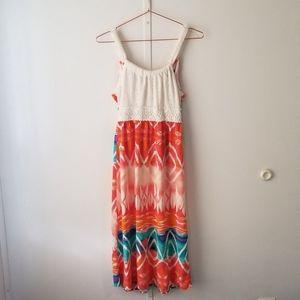 Sequin Hearts Crochet Halter Maxi Dress
